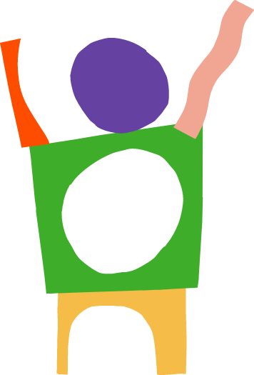 Graphic of person made of colorful shapes